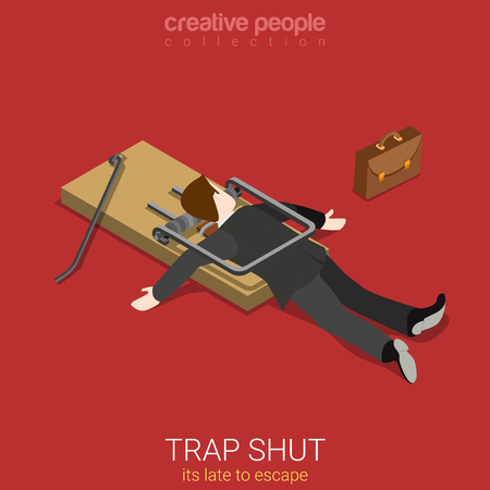 business graphics: Flat 3d isometric style business lifestyle fall into trap concept web infographics vector illustration. Isometry businessman shut in trap lake to escape. Creative people collection.