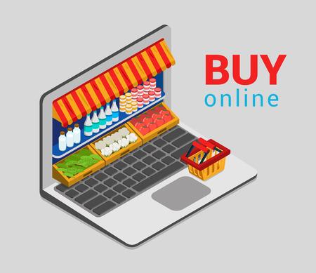 Laptop comprar plana Web 3d isométrica concepto infografía vector ventas del negocio electrónico en línea de compra de comestibles tienda de comercio electrónico. Carro tienda tienda de mercado de escaparate estantes de productos de pantalla plataforma portátil.