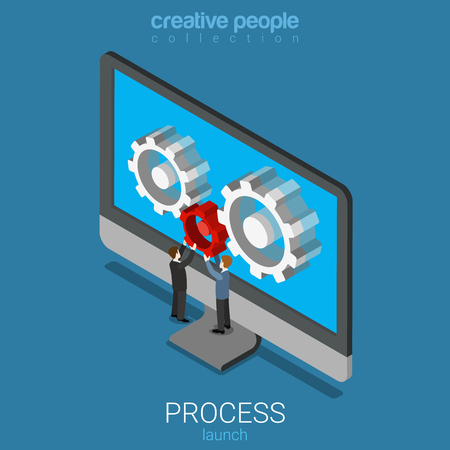 isometry: Flat 3d isometry isometric app application software process launch concept web infographics vector illustration. Micro people placing red cogwheel on laptop screen. Creative people collection. Illustration