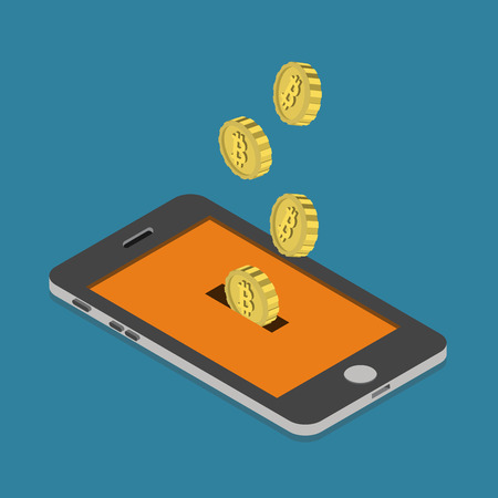isometry: Flat 3d isometry isometric bitcoin online currency payment mining wallet concept web infographics vector illustration. Bit coin slide hole smart phone screen money box savings. Bitcoins collection.
