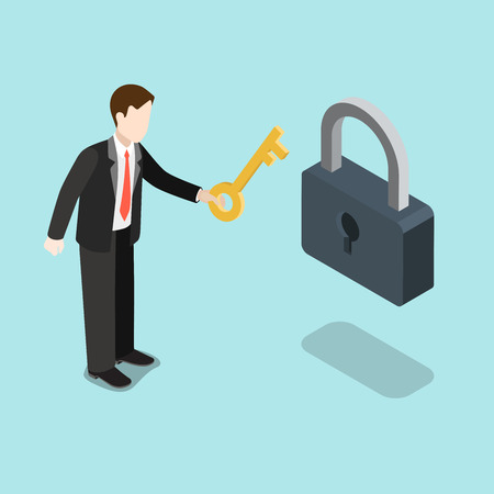 web solution: Flat 3d isometric key to solution concept web infographics vector illustration. Businessman holding big key pointing to lock hole. Creative people collection.