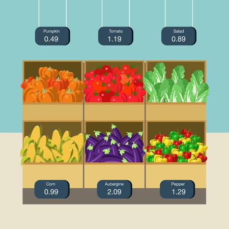 pumpkin tomato: Flat style agriculture vegetable market showcase box web infographic icons. Pumpkin tomato pepper corn eggplant aubergine salad. Website infographics collection. Illustration
