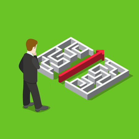 web solution: Business maze puzzle solution flat 3d web isometric infographic concept vector template. Businessman before labyrinth and straight line break it. Creative people collection. Illustration