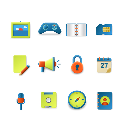 micro: Stylish set of gradient silky candy smooth technology vector icons. Game speaker notebook envelope typewriter document micro sd calendar save contacts compass lock. Mobile app interface elements collection.