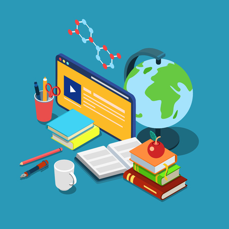 metaphoric: Flat 3d isometric online internet courses education knowledge learning concept web infographics vector illustration. Course lecture video interface window globe books stationery chemical formula.