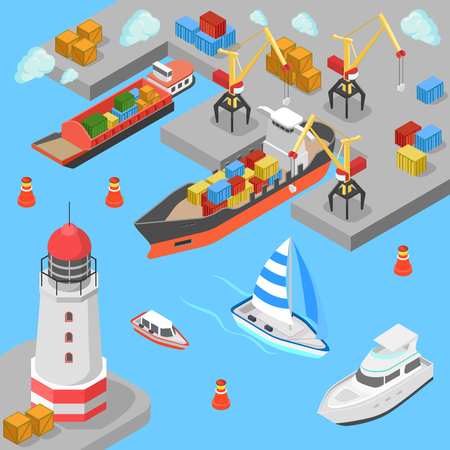 Flat 3d isometric nautical transport cargo shipping harbor dock port lighthouse boat yacht concept web infographics vector illustration. Container ship barge loading crane marine transportation. Çizim