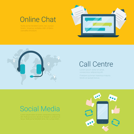 communicative: Flat style website slider banner online chat global call center social media concept web infographics. Laptop communication messaging, headphones world map, mobile social network appreciate message.