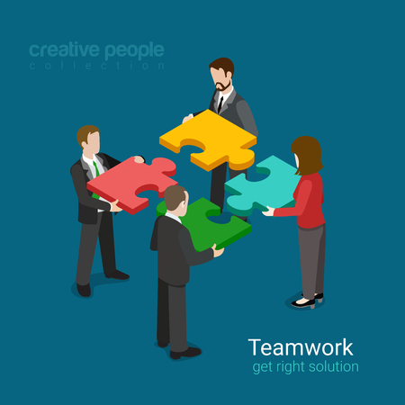 unrecognizable person: Business team solution in partnership concept flat 3d web isometric infographic vector. Four businessmen pushing pieces of puzzle. Creative people collection. Illustration