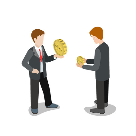 smaller: Flat 3d isometric financial strength comparison concept web infographics vector illustration. Businessmen with big and smaller coins. Creative people collection. Illustration