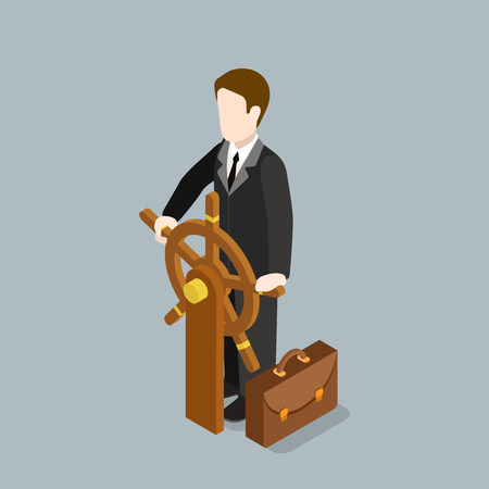 metaphoric: Flat 3d isometric business captain concept web infographics vector illustration. Businessman driving steering wheel. Creative people collection.