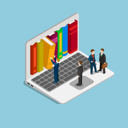 web screen: Flat 3d isometric online course education knowledge library concept web infographics vector illustration. Businessman getting book from laptop screen shelf. Creative people collection. Illustration