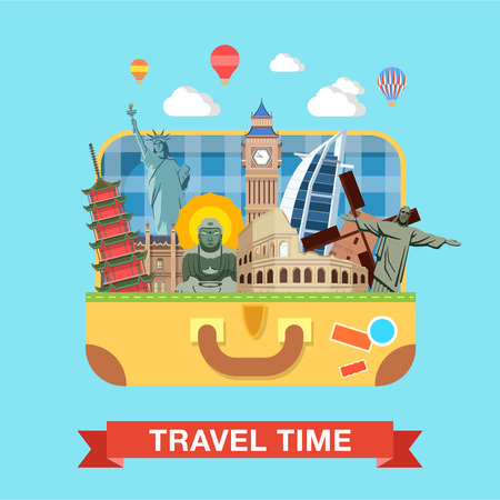 emperor: Flat style open suitcase with famous sights of the world travel tourism concept infographics vector illustration. Rome Coliseums Christ Statue Rio London Big Ben Liberty Statue Buddha Beijing Emperor.