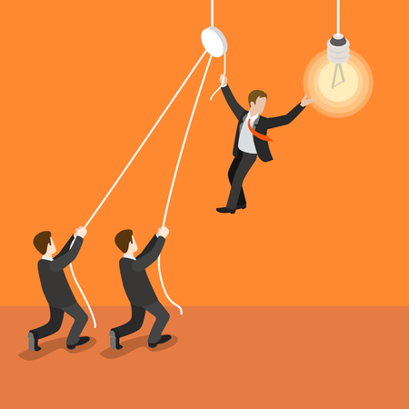 one people: Flat 3d isometric leadership leader teamwork concept web infographics vector illustration. Two businessman holding one who changes the light bulb lamp. Creative people collection. Illustration