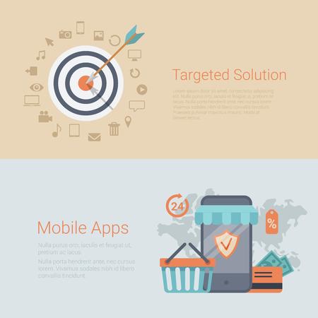 arrow target: Flat style website slider banner marketing targeted solution mobile apps concept web infographics. Target arrow bull eye, smart phone shopping cart credit card money world sale 24 hours.