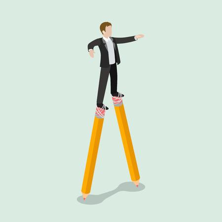metaphoric: Flat 3d isometric dodger business concept web infographics vector illustration. Stilt walker businessman on pencils. Creative people collection.