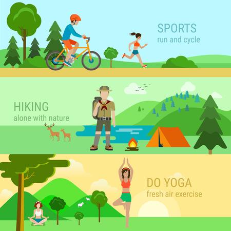 hacer: estilo plano moderno conjunto de deportes al aire libre. Ciclo de la bicicleta correr hacer senderismo yoga a solas con la naturaleza. infografía estilo de vida saludable colección concepto.