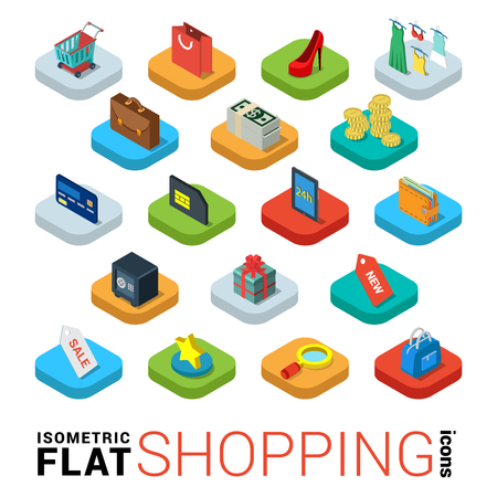 web store: Flat 3d isometric trendy style online store shopping web mobile app infographics icon set. Cart bag credit card tablet wallet label sale search favorite credit bank card money dollar note gift box coin safe. Website application collection. Illustration