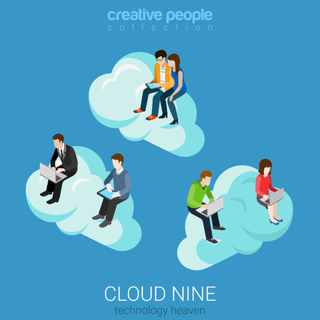 on cloud nine: Flat 3d isometry isometric internet technology heaven cloud nine concept web infographics vector illustration. Businessman casual couple on clouds surfing laptop tablet. Creative people collection.