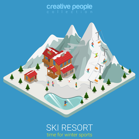 hilly: Flat 3d isometric style ski resort winter mountain sports travel concept web infographics vector illustration. Piece hilly land snowboard track ice lake. Creative people website conceptual collection.