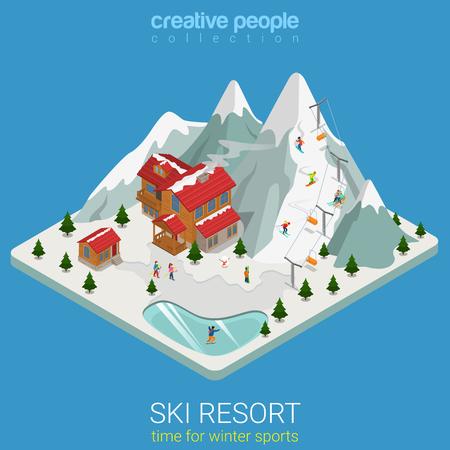 Flat 3d reizen isometrische stijl skigebied winter bergsporten begrip web infographics vector illustratie. Stuk heuvelachtige land snowboard spoor ijsmeer. Creatieve mensen website conceptuele collectie. Stock Illustratie