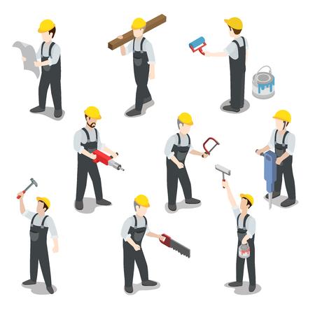 Flat 3d isométrique travailleur de la construction constructeur icon set infographies notion web illustration vectorielle. Carpenter peintre foreur architecte contremaître signaleur. Creative collection de personnes. Vecteurs