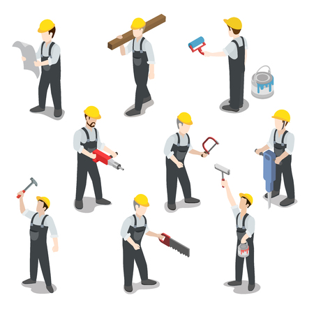 Flat 3d isometrische bouwer bouwvakker icon set begrip web infographics vector illustratie. Carpenter schilder driller architect voorman Swamper. Creatieve mensen collectie. Stock Illustratie