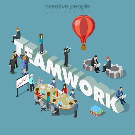 creative: Flat 3d isometric style teamwork concept web infographics vector illustration. Businessmen at meeting table cogwheels and big teamwork word. Creative people collection.