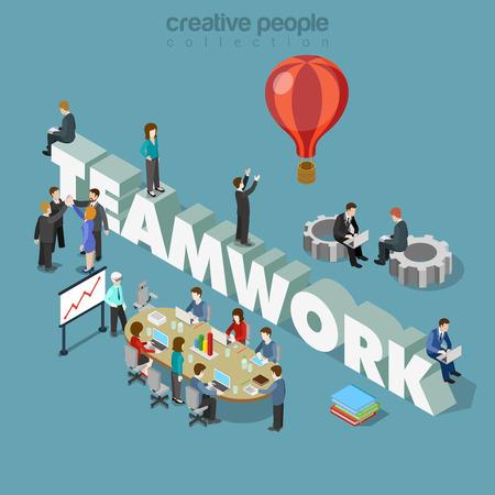 ilustración 3D isométrica estilo plana el trabajo en equipo concepto infografía web vectorial. Los hombres de negocios en la reunión de mesa y ruedas dentadas gran palabra trabajo en equipo. personas colección creativa. Ilustración de vector