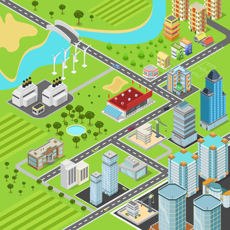 city buildings: City suburb block streets transport blocks concept. Modern trendy flat 3d isometric infographics. Street buildings cars vans ice cream square park fountain business center park. Build your own world.