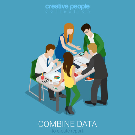 isometry: Flat 3d isometry isometric combine data to create graphic report concept web infographics vector illustration. Meeting room team work on codument. Creative people collection.