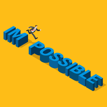 metaphoric: Flat 3d isometric from impossible to possible concept web infographics vector illustration. Businessman jump from IM to POSSIBLE letters. Creative people collection. Illustration