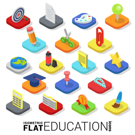 Flat 3d isometric trendy style education web mobile app infographics icon set. Website application collection.