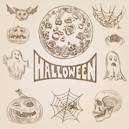 crosshatch: Halloween party engraving style hand drawn doodle template banner print web site set pen pencil crosshatch hatching paper painting retro vintage vector illustration