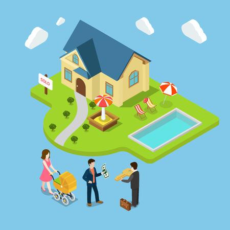 Flat 3d isometrische nieuwe familie huis verkocht onroerend goed business concept web infographics vector illustratie. Agent geeft sleutel man geld moeder kinderwagen thuis speeltuin zwembad. Creatieve mensen collectie.