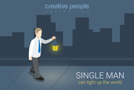 dark street: Flat 3d isometric style single man can light up world concept web infographics vector illustration. Businessman with lantern light on dark street. Creative people collection. Illustration