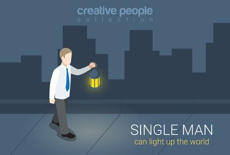 single man: Flat 3d isometric style single man can light up world concept web infographics vector illustration. Businessman with lantern light on dark street. Creative people collection. Illustration