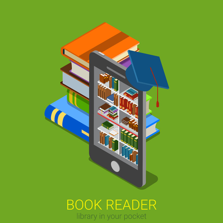 book reader: Flat 3d isometric online library web infographics concept. Electronic book reader lib tablet smartphone e-book shelf stand inside and big books around. Creative people collection.