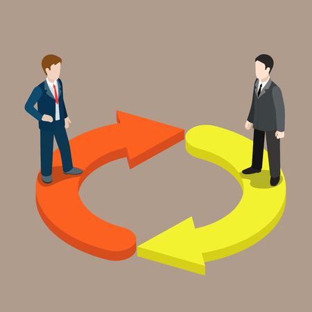 ilustración 3D isométrica plana gestión del cambio personal interruptor de infografía concepto de web de vector. Dos hombres de negocios en icono de actualización flechas. personas colección creativa.