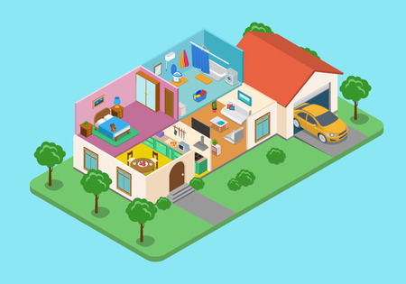 home exterior: Flat 3d isometric style home indoor interior exterior open transparent ceiling concept web infographics vector illustration. Creative architecture info graphic collection.
