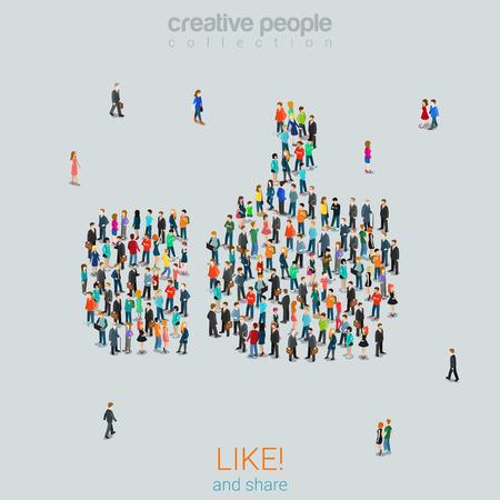 親指群衆ソーシャル メディア コンテンツを共有する web インフォ グラフィック ベクトル イラストの概念のような 3 d のアイソメ図スタイルをフラ