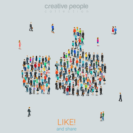 Flat 3d isometric style like thumbs up crowd social media content sharing concept web infographics vector illustration. Group of people stand forming big thumb up like sign. Creative people collection Illustration