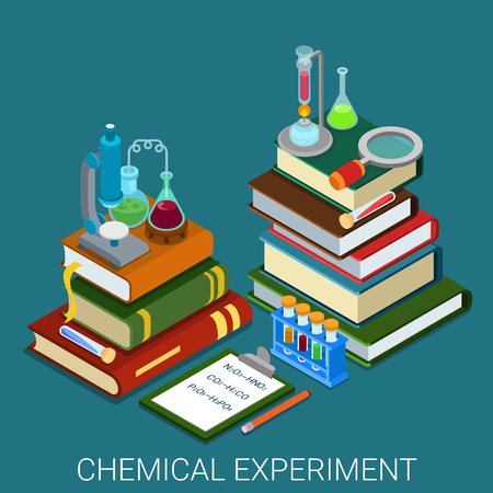 experiments: Flat 3d isometric style chemical lab experiment research concept web infographics vector illustration. Heap books clipboard formula tube flask magnifier microscope icon. Website conceptual collection.