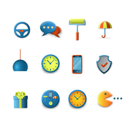 chat icons: Stylish set of gradient silky candy smooth technology icons. Steering wheel sms chat security clock smartphone settings gift pacman pac-man signs. Mobile app interface elements collection. Illustration