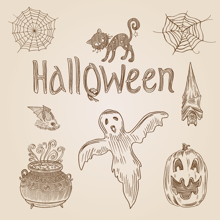 Halloween Party Engraving Style Hand Drawn Doodle Template Banner