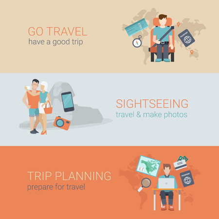 travel icon: Flat style website slider banner go travel sightseeing trip planning concept web infographics. Template man airplane seat, couple selfie sphinx, table laptop tourist passport visa plan vector illustration.