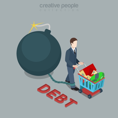 the wick: Flat 3d isometric style debt bomb concept web infographics vector illustration. Man drive wheel shopping cart and burning sphere bomb wick chained to leg. Creative people collection.