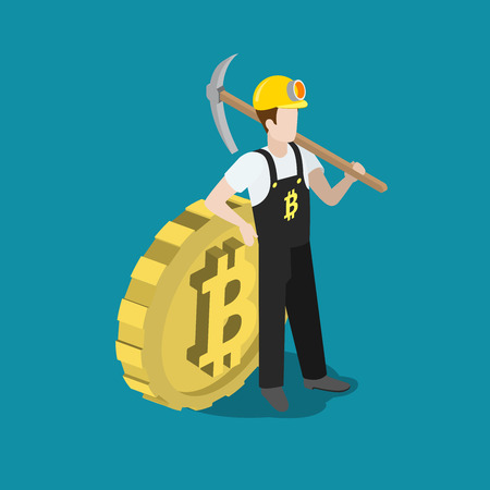 isometry: Flat 3d isometry isometric bitcoin mining miner pick concept web infographics vector illustration. Miner profession worker with pickaxe and big bit coin. Creative people collection.