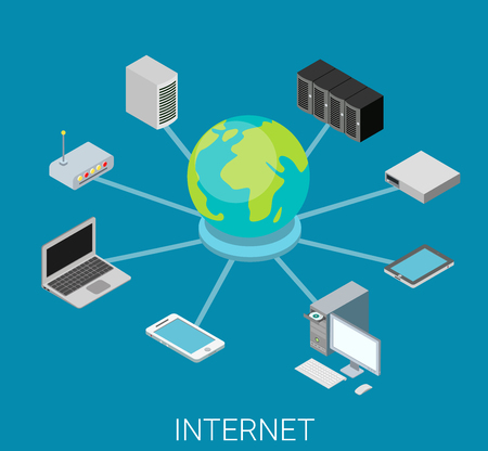 network server: Flat 3d isometry isometric internet network concept web infographics vector illustration. Info graphic conceptual metaphor. Devices laptop smartphone tablet server router computer connected big globe.