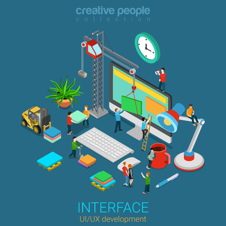 Flat 3d isometric mobile UIUX GUI design web infographic concept vector. Crane people creating interface on computer. User interface experience usability mockup wireframe software development concept