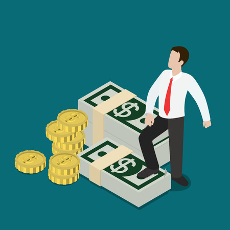 metaphoric: Flat 3d isometric business prosperity concept web infographics vector illustration. Micro businessman standing on dollar note packs coin stacks. Creative people collection.